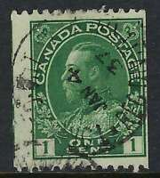 Scott 131var. - 1c Green King George V Admiral coil with next stamp showing
