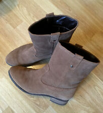 Next Tan Brown Real Suede Flat Mid Calf Boots - Size 9 Wide Fit