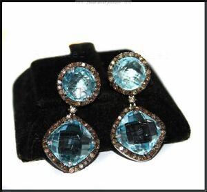 Drop/Dangle Earring Aquamarine & Pave Diamond Jewelry 925 Sterling Silver