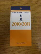 02/11/2010 Ticket: Tottenham Hotspur v AC Milan [Champions League] [Gary Mabbutt