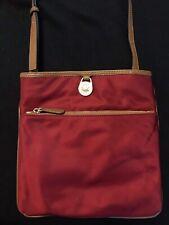 Michael Kors Kempton Large Pocket Nylon Crossbody Bag Purse Cherry Merlot Red