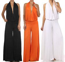Halter Wide Leg Pleated Dress Jumpsuit Pantsuit Plunging Neckline Open Back