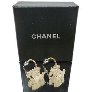 Authentic CHANEL CC LOGO Loop Earrings Clear Rhinestone Clear 04A #K14013