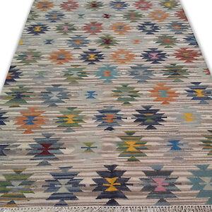 Hand-Woven Tribal Anatolian Kilim Turkish Oriental Area Rug Multicolour Rug 5x8