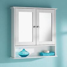 DOPPIA PORTA A SPECCHIO CON MENSOLA STORAGE in legno bianco armadietto da bagno mobili