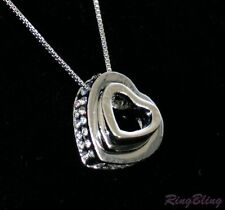 REDUCED! Silver Plated Crystal Paved Double Heart Pendant Necklace! 70% OFF!