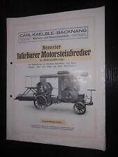 Prospekt Sales Brochure Carl Kaelble Fahrbarer Motorsteinbrecher Stahlausführung