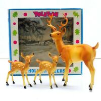 Vintage Yuletide Holiday Christmas Deer Family Buck Fawn Set Made In Hong Kong
