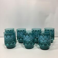 Vintage Retro Set of 7 Blue Teal Art Deco Style Drinking Glasses Juice Tumbler