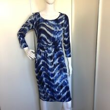 b489c8aee1 Betty Barclay Abstract Print Ruched Blue Cotton Jersey Dress Size 8 10