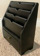 Solid Wood Espresso Table Top Tiered Mail Bill Letter Organizer Holder w/Drawer