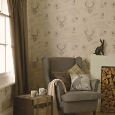 RICHMOND HIGHLAND STAG WALLPAPER CHARCOAL CREAM (98012) HOLDEN DECOR