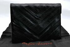 Authentic YVES SAINT LAURENT Clutch Bag Leather Black A1382