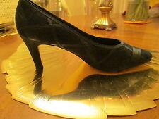 Gloria Venderbilt Blue Suede Shoes with Satin Trim Sz 11M
