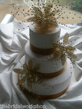 3 Wedding Party Cake Toppers Diamante Pearl & Crystal Flower - Silver or Gold