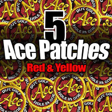 NEW (X5) Disc Golf Embroidered ACE PATCH Attach 2 bag - Red & Yellow Version