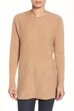 Halogen High/Low Wool & Cashmere Tunic Sweater Camel LP NWT $129