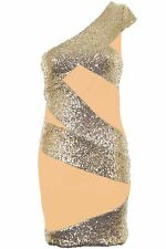 Ladies One Shoulder Celeb Inspired Sequin Contrast Women's Party Bodycon Dress