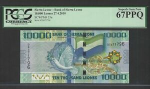 Sierra Leone 10000 Leones 27-4-2010 P33a Uncirculated Graded 67