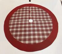 "NEW December Home 52"" Red White Plaid Christmas Tree Skirt Multi Color L👀k"