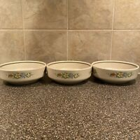 3 Vintage Temper Ware  by Lenox Floral Fantasy  soup / cereal bowls