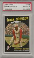 1959 TOPPS #435 FRANK ROBINSON, PSA 8 NM-MT, HOF, CINCINNATI REDS, L@@K !
