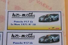 QE 1 ex étiquette autocollant Heco modeles Porsche 917 LH Me N°18 Mans 1971