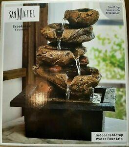 NIB San Miguel Brookside Table/Office Desktop Fountain Relaxing Cascading Water