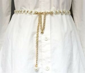 Women Lady Shell Slim Mermaid Party Metallic Gold Chain Beads Dress Tassel Belt