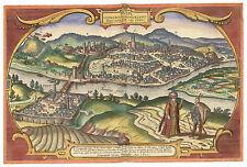 Budapest Central Hungary bird's-eye view map Braun Hogenberg ca.1617
