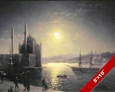 MOONLIT SHIPS ISTANBUL TURKEY SAILBOAT SEASCAPE PAINTING ART REAL CANVAS PRINT
