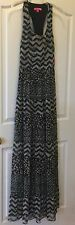 Betsey Johnson Blue Tan Dress Womens Size 10 Casual Long Sleeveless Tiered TBack