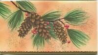 VINTAGE CHRISTMAS PINE CONES NEEDLES RED BERRIES EMBOSSED MCM ART GREETING CARD