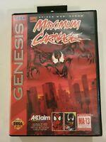 Maximum Carnage Sega Genesis In Box Red Cartridge Cart Variant No Manual tested
