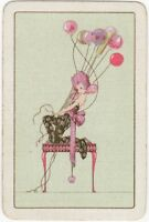 Playing Cards 1 Single Swap Card - Old Vintage Art Deco LADY GIRL + BALLOONS