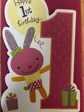 Happy First Birthday Sparkley Bunny Card Granddaughter American Greetings