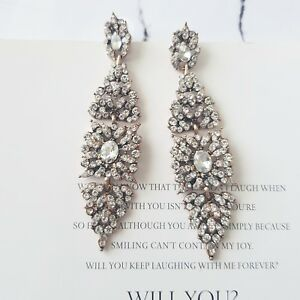 Stunning white crystal tear drop bridal chandelier statement cocktail earrings