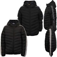 Boys Padded Striped Reflective Jacket Brave Soul Kids Quilted Coat Hooded School