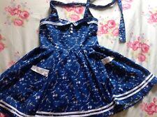 Hell Bunny Vixen Nautical Halterneck Dress L