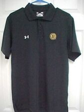 BOSTON BRUINS Men Short Sleeve Sewn Logo Black Golf Polo Shirt S Under Armour