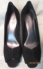 """EUC  *NINE WEST*  Women's Black Suede Leather Peep Toe 4"""" Platform Pump, 8.5 M"""