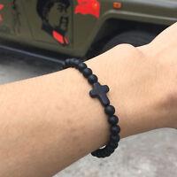 Matte Onyx Stone Cross Yoga Beaded Bracelet Boyfriend Gift Jewelry Men Wristband