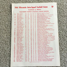 1964 BADGER Football Program Wisconsin BADGER INTRA-SQUAD FOOTBALL GAME roster