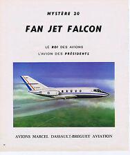 PUBLICITE ADVERTISING 094 1975 FAN JET FALCON l'avion des Présidents