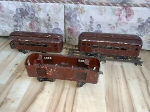 Lionel Electric Trains Prewar Standard Gauge Lot of 3 Passenger Cars, C-3