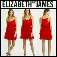 $395 ELIZABETH AND JAMES Tricia Red Silk Ruffle Party Cocktail Dress~S,M,L M3020