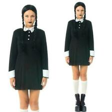 Gothic Costume Ladies Wednesday & Wig Addams Halloween Fancy Dress Morticia