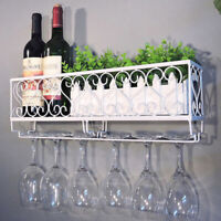 Wall Mounted Iron Wine Rack Bottle Champagne ^Glass Holder Shelves Bar AcceODFK