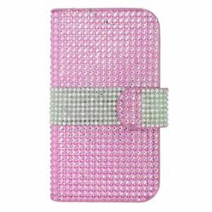 Hot Pink Universal Premium Leather Wallet Card Holder Flip Case For Mobile Phone