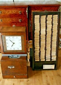 Antique clocking in machine and clocking in cards and holder